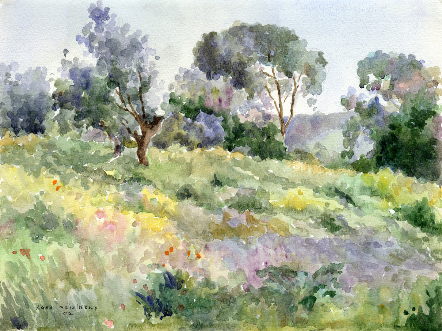 lubalem - Lanscape in vicinity of Latrun-watercolor.jpgi
