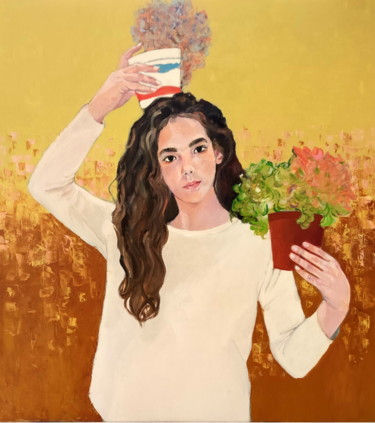 Portrait of a girl with pots of flowers ( Hava)